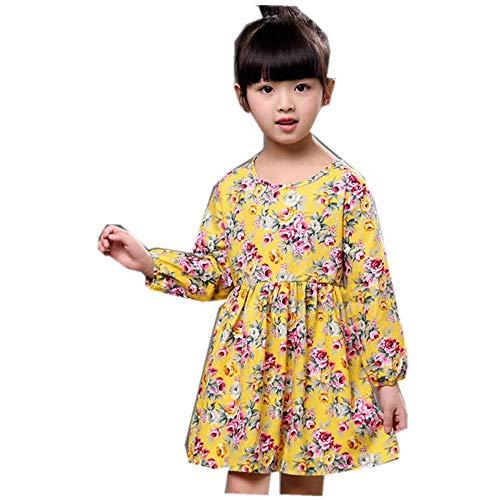 Mädchen Kleider Festlich, Weant Baby Kleidung Mädchen Mode Floral Drucken Elegant Casual Prinzessin Kleider FüR Kinder Mädchen Kleidung Partykleid Chiffon Kleid Baby Tägliche Kleidung Pullover - Gelb Floral Capri-hosen