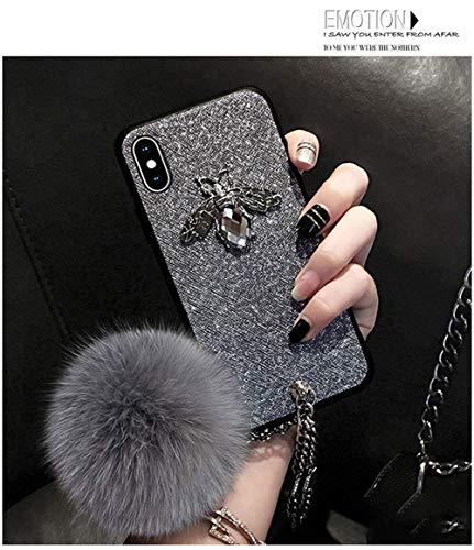 FENGT Edelsteinapfel-Handyoberteil iPhone 7/8 Schützende Schale iPhone 8Plus Haarkugeledelsteinarmband-Handyschutzabdeckung,Gray,Iphone7/8Plus