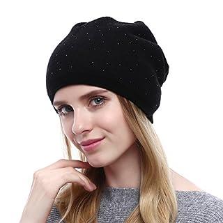 Alxcio Warme Wintermütze für Damen Herbst Winter mit Glitzer Elegant Mützen Slouch Beanie by