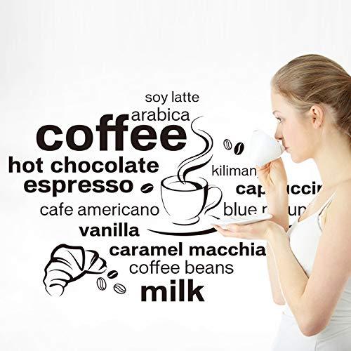 Preisvergleich Produktbild Yirenfeng Wandaufkleberkaffee englische dekorative Wandaufkleberkaffee-Wohnzimmerhintergrunddekoration entfernbar