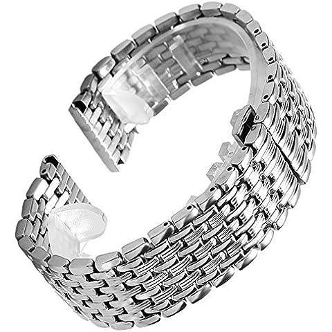YISUYA de plata 20 mm de acero inoxidable de tono de plata del grano de nueve eslabones sólidos y cierre oculto de Botón o la sustitución de la venda de reloj de la pulsera de la correa