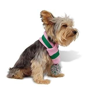 Designer Pet Clothes, Pink Green Stripe Dog Scarf