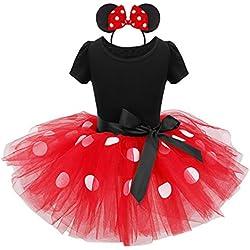 IEFIEL Vestido Maillot de Ballet Danza para Niña Disfraz Bailarina Tutú Lunares Vestido de Princesa Fiesta Boda Cumpleaños con Diadema 1-8 Años Rojo 6 Años