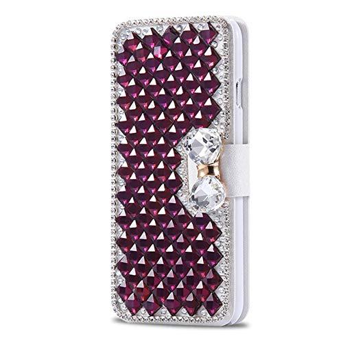 Homikon PU Leder Hülle Retro Schön Glänzend Glitzer Diamant Schmetterling Schutzhülle Brieftasche Ledertasche Handyhülle Mädchen Frau Flip Wallet Case Kompatibel mit Samsung Galaxy Note 5 - Lila (Fünf Galaxy Note)