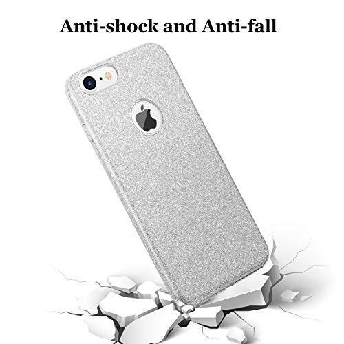 """iphone 7 Case, hanlesi lucida copertura [bling chiarissimo] [slim fit] 3 strato ibrido con brio premio trasparente tpu custodia per apple iphone 7 (4.7"""") Silver"""