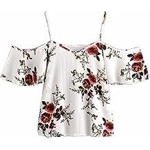 Blusa sexy mujer ❤ Amlaiworld Camisetas sin mangas de verano de mujeres Blusas florales para