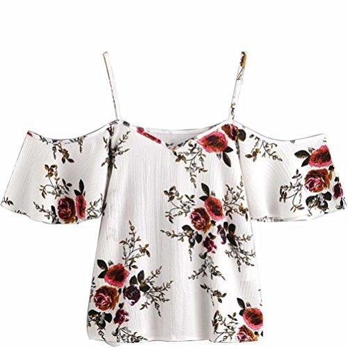 Blusa sexy mujer ❤️ Amlaiworld Camisetas sin mangas de verano de mujeres Blusas florales para mujer con hombros descubiertos camisola Cami Tops crop tops chaleco Camiseta (Blanco, L)