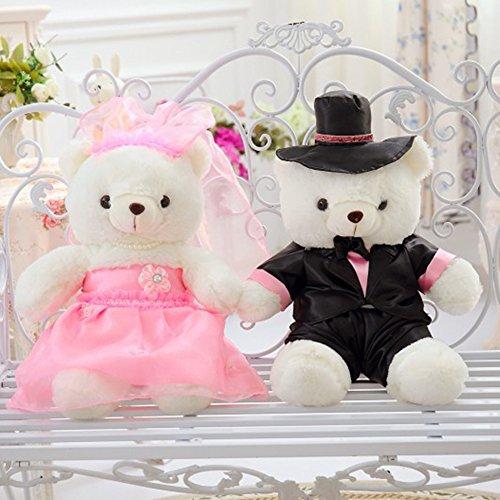 VERCART Braut und Bräutigam Hochzeit Paar Teddybären Angefüllte Tier Plüschtiere für Valentines (Minion Valentine Stofftier)