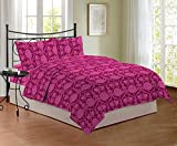 Bombay Dyeing Mistyrose 120 TC Polycotton Double Bedsheet with 2 Pillow Covers - Magenta