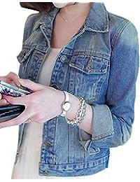 Mujer Corto Chaquetas De Mezclilla Slim Fit Denim Jacket Manga Larga