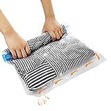 12 tlg Set Reise Vakuumbeutel, Suob 3 Größen (70x50cm, 60x40cm, 50x35cm) Vakuum Aufbewahrungsbeutel zum Rollen für Kleidung, Decken, Handtücher, ohne Staubsauger und Pumpe