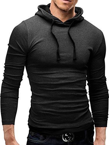 MERISH Hoodie Herren Slim Fit Langarm Shirt Modell 06 Anthrazit / Schwarz
