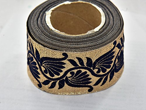 The Design Cart Deep Gold and Navy Blue Thread Design Border (5 Meters) for Dress