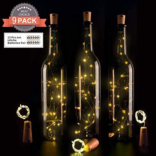 9x 20 LED Flaschen-Licht, Ohadani Flaschenlichter Lichterketten Kork Flaschen Licht für Romantische Deko [Energieklasse A+++]