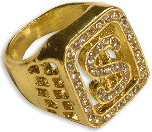 Widmann 2112P-Ring vergoldet mit Strass und Dollarzeichen, in - Golden Fairy Kostüm