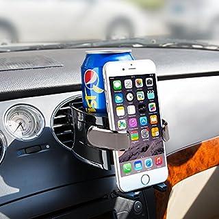 BESTEK Multifunktion Auto Getränkehalter, Lüftungshalterung Handyhalterung geeingnet für alle iPhone/Nokia / Xiaomi/Gigaset, Becherhalter für Kaffeebecher und Getränkedose, Tarnish