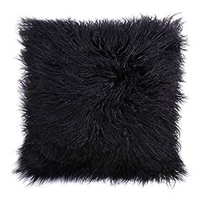 Taie d'oreiller, housse de coussin en fausse fourrure mongole de couleur naturelle par Cinoyoni pour la décoration de votre maison, noir, 50,8 x 50,8 cm