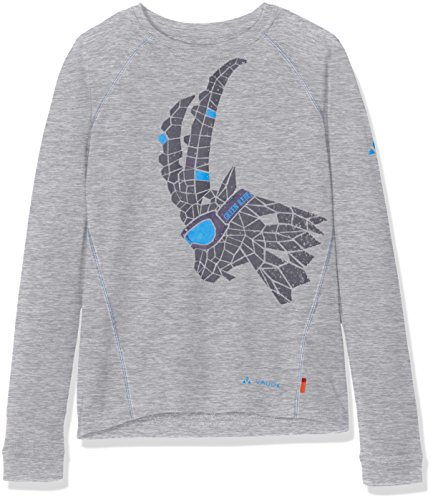 VAUDE Kinder Kids Fulmar Long Sleeve Shirt T-Shirt, Grey Melange Uni, 134/140 (Fallen Shirt Gewebt)