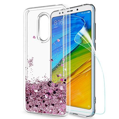 LeYi Funda Xiaomi Redmi 5 Plus Silicona Purpurina Carcasa con HD Protectores de Pantalla,Transparente Cristal Bumper Telefono Gel TPU Fundas Case Cover Para Movil Xiaomi Redmi 5 Plus Oro Rosa
