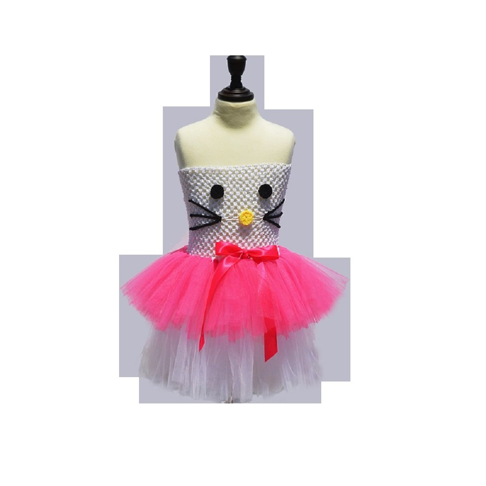 a271f4fd1 White & Hot Pink Kitty Design Baby Girls Dress Kids Girl Cartoon Dress  Summer Children Cosplay Party Fairy Frocks from LONDON