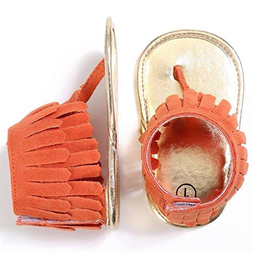 Coolster Baby Sandale Krippe Schuhe Tassel Soft Sole Anti-Rutsch Kleinkind Säugling Sneakers Orange
