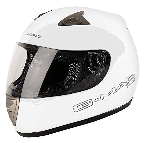 G-Mac Casco Moto Pilot Mono, Blanco, XL