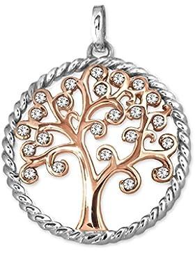 CLEVER SCHMUCK Silberner Anhänger Lebensbaum Ø 25 mm mit vielen Zirkonias teils offen roséfarben im Ring glänzend...
