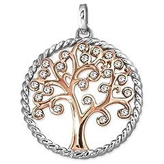 Idea Regalo - Clever Drachensilber argento ciondolo a forma di albero della vita Diametro 25mm con zirconi parzialmente aperta rosa su argento 925lucido anello