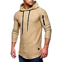 ¡Gran promoción!Rovinci para Hombre con Capucha de Moda Blusa de los Hombres Camiseta de Manga Larga otoño Camisa de Cremallera Caliente Camiseta sólido con Capucha Pullover