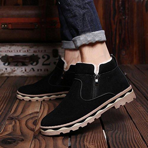 Martin Bottine Hommes Classique Hiver Cuir Chaud, QinMM Neige Cool Sneakers Angleterre Zip Chaussures Cheville Bottes Noir
