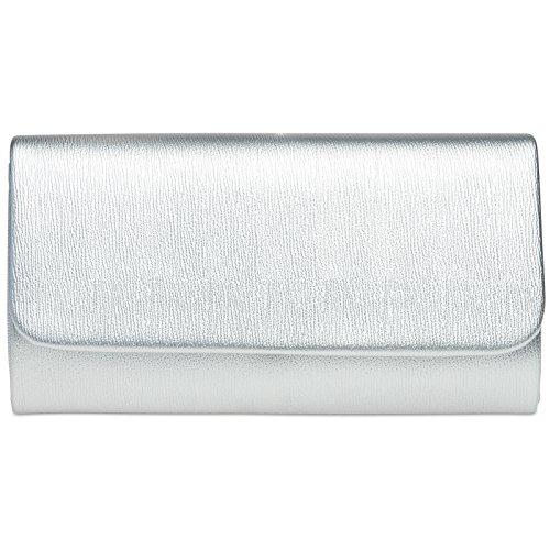 CASPAR TA371 Damen Baguette Clutch Tasche Abendtasche, Farbe:silber;Größe:One Size