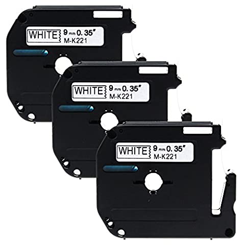 Anycolor 3x Replacement Label Tape Compatible MK221 M-K221 for Brother P-Touch PT-65, PT-80, PT-90, Black on White Cassette (3/8