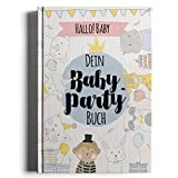 Hallo! Baby - Dein Baby-Party Buch | Geschenk zur Baby Shower Party | inklusive Einladungskarten, Party Deko Set und Gästeposter zum Downloaden