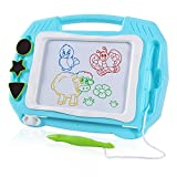 SGILE Mini Magnetic Drawing Board - Portable Travel Size 31.5×23cm, Erasable Colorful Magna Doodles Writing Pad Toy for Kid/ Toddlers/ Babies with 3 Stamps and 1 Pen, Light Blue