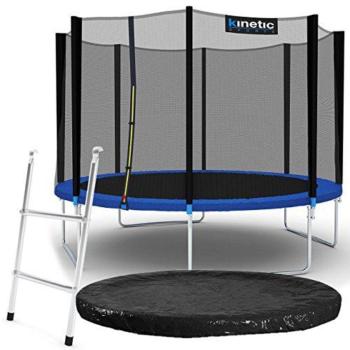 Kinetic Sports Outdoor Gartentrampolin Komplettset Ø 335 cm Sicherheitsnetz Randabdeckung Leiter Abdeckplane
