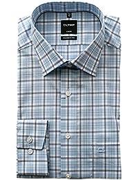 OLYMP Hemd Luxor Modern Fit Langarm Freizeithemd, Bügelfrei, Karriert, Kent  Kragen 61df8ce81c
