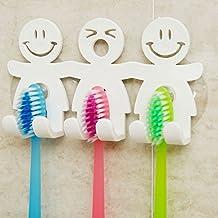 Bonito soporte para cepillos de dientes con ventosa para pared del baño, emoticono de cara