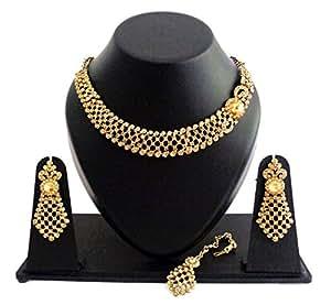 GERUAA Golden Stone Metal Necklace Set With Maang Tikka For Women