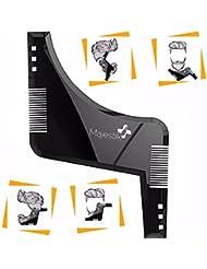 La barbe Styling Modèle - pochoir pour les hommes - léger et flexible - taille unique - coupe courbe; l'étape couper; l'encolure & Barbe Bouc Outils de forme dans le style Barbe- Black