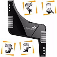The Beard Styling Template- Stencil for Men - Lightweight and Flexible - One Size Fits All - Curve Cut, Step Cut, Neckline & Goatee Beard Shaping Tool in Black