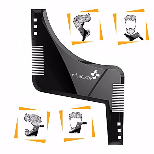 Price comparison product image The Beard Styling Template- Stencil for Men - Lightweight and Flexible - One Size Fits All - Curve Cut,  Step Cut,  Neckline & Goatee Beard Shaping Tool in Black