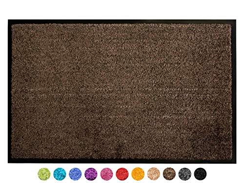 Primaflor - Ideen in Textil Schmutzfangmatte CLEAN - Braun 60x90 cm, Waschbare, rutschfeste, Pflegeleichte Fußmatte, Eingangsmatte, Küchenläufer Sauberlauf-Matte, Türvorleger für Innen & Außen