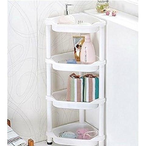 discountseller carrito de la ducha esquina estante en color blanco resistente a la corrosión cocina baño unidad de almacenamiento de 4niveles