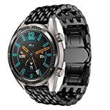 DAYLIN Correas para Huawei Watch GT Reloj Pulsera Actividad Inteligente Watch Band Repuesto de Correa de Reemplazo de Acero Inoxidable Wristband Reloj Banda Deportiva Watch Strap 22mm (Negro/Dorado)