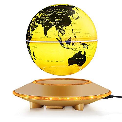 zjchao Magnetische Levitation Globe, Schwimmend Rotierende Kugel Anti Schwerkraft LED beleuchtet Weltkarte Erde für Desktop Office Home Dekor Kinderausbildung Geschenk (6'' Gold Globe) (Acryl-globus-leuchte)