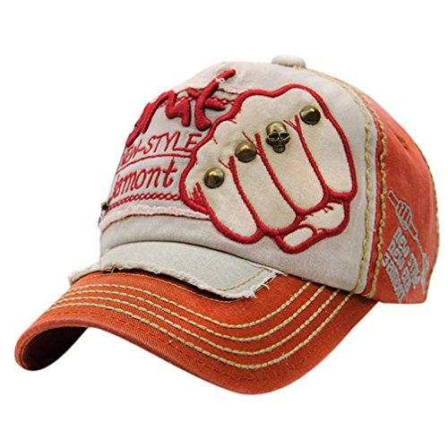 Unisex Baseball Cap FORH Mode Sommer Kappe Mesh Hüte Super Coole Hip Hop caps Chic Besticken Brief kappe Sommer Sport Mütze Schirmmütze (Orange)