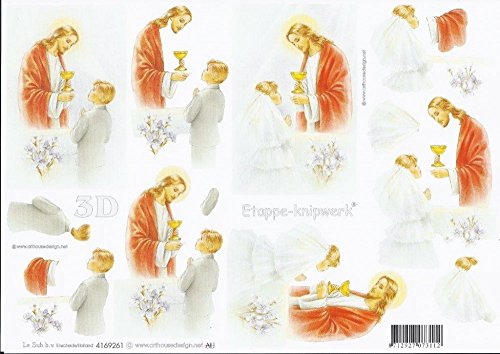 3D Bogen Kommunion Format A4 basteln Scrapbook Stanzbogen Deko GWI 4169.261