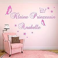Wandtattoo AA145 Kinderzimmer Kleine Prinzessin WUNSCHNAMEN Wandaufkleber Mädchen personalisiert Farb./Größenwahl