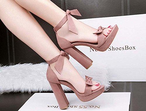 NobS Sandali con plateau Nightclub Bow tacco grosso aperte in punta Tacchi alti sandali sandali impermeabili Pink