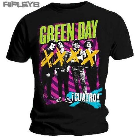 Producto oficial de T-de camiseta de GREEN DAY negro diseño de luces de colores HYPNO autógrafos de los miembros de Cuatro todos los tamaños 4